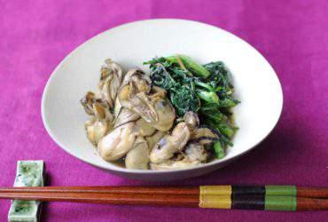牡蠣の佃煮と春菊のソテー