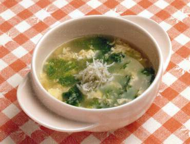 卵としらすのスープ