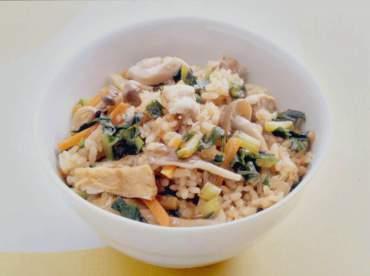 大根菜ときのこの炊き込み御飯