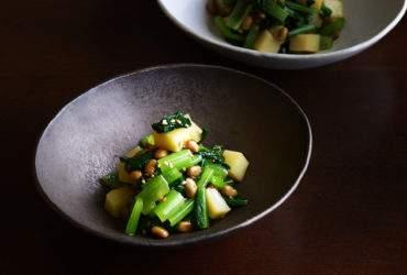 小松菜とじゃがいも納豆あえ