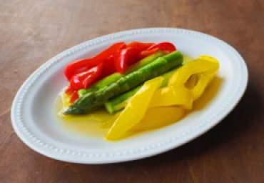 【減塩】アスパラとパプリカのオリーブオイル蒸し