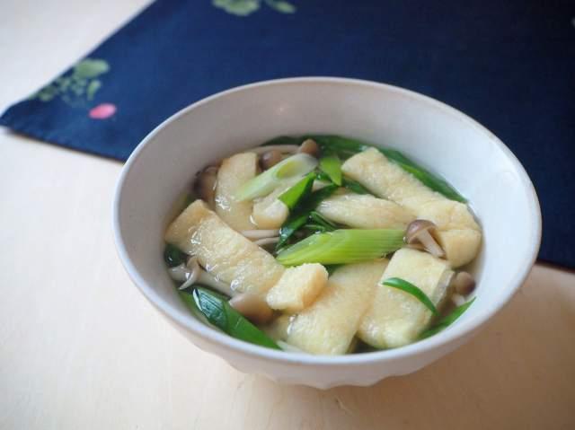 九条ねぎとお揚げのスープ仕立て(電子レンジ)